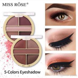Накей теней для век онлайн-MISS ROSE Eyeshadow Palette 5Colors Матовый блеск Nude Eye Shadow Base Макияж Косметические обнажить Профессиональные Тени палитр
