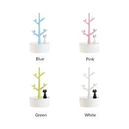 Держатели ювелирных изделий из дерева онлайн-[DDisplay] ABS Cat Tree Розовый Дисплей Ювелирных Изделий Персонализированный Браслет Белый Организатор Хранения Гламур Маленькие Серьги Девочек Синий Дисплей