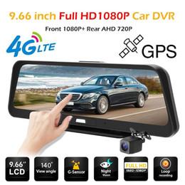 2019 sensor duplo de 4 g E98 FHD 1080 P Câmera Do Carro DVR 9.66 polegada 4G Android 5.1 GPS Dual Lens de Visão Noturna Gravador De Vídeo Digital Dashcam sensor duplo de 4 g barato