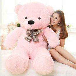 Schöner großer teddybär online-Hohe Qualität 140 cm Gefüllte Schöne Teddybär Plüschtier Große Umarmung Bär Kinder Kind Puppe Mädchen Geschenke Freundin Geburtstagsgeschenk