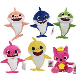 Argentina DHL 6 colores suaves muñecas bebé juguetes de peluche con las muñecas de juguete de tiburón luz música Animal lindo canto Inglés Canción de Navidad regalos de juguetes para niños Suministro