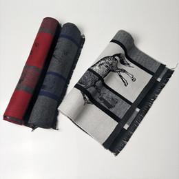 2019 tartán bufanda de doble cara 2019 invierno nueva bufanda de cachemira para hombre largo jacquard caballo diseño de lujo bufanda fría cálida de doble cara 170 * 30 rebajas tartán bufanda de doble cara