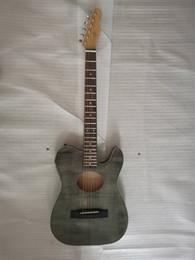 Flame Maple Top ST Stratacoustic Standard Schwarz Akustische E-Gitarre Chinese EQ Pickups, Palisander Griffbrett Brücke, Vintage Tuner von Fabrikanten