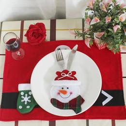 2019 sacos de faca para Decorações de Natal criativo conjunto de talheres velho boneco de neve veados nova faca e garfo conjunto restaurante do hotel saco de talheres de layout sacos de faca para barato