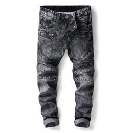 Pantalones vaqueros falsos online-Más nuevos Llegados Moda hombres Multi Fake Cremallera Slim Fit Casual Snow Wash Pantalones Denim Estilo Punk Ripped Skinny Jeans Pantalones