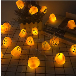 Canada New Halloween citrouille string light orange Noël suspendu décoration lanternes décor String décoratif lampe série batterie boîtier led citrouille cheap led light series decoration Offre