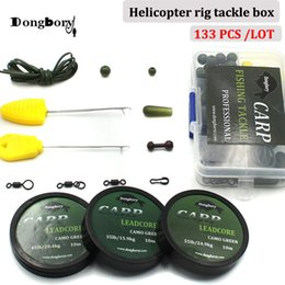 2019 pez aguja 133PCS Carp Fishing Set Tackle Box Kit Combo Helicopter Rig Making Accesorios Rigging Bait Needle Rig Sleeve Swivel Bead Tackle pez aguja baratos