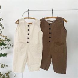 Tuta generale dei ragazzi online-INS Toddler Kids Boys Tute Tuta Blet Pagliaccetti Cotton Front Buttons Disegni tascabili Summer Children Girls Boys Suspender