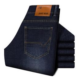 Jeans 2019 Autumn New Style Business Casual Slim Fit Elastic Classic Style Trousers Sky Blue Pants Male supplier sky blue jeans от Поставщики голубые джинсы