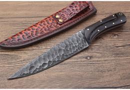 cuchillos forjados a mano Rebajas Nuevo cuchillo de caza de hoja fija al aire libre clásico 9Cr18Mov Forjado a mano Cuchilla completa Tang Ebony Mango Supervivencia Cuchillos rectos