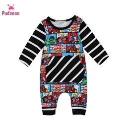 Männer baumwolloveralls online-Pudcoco Infant Neugeborene Baby-Kleidung Supermann-Baby Clothig Langer Overall Strampler Niedliches Baby Cotton Herbst-Fall-Outfits