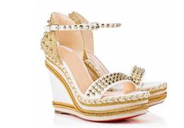 Sandálias de calcanhar on-line-Elgant designer vermelho fundo Madmonica trançado corda cunha tira no tornozelo espigas gladiador sandálias sexy senhoras sandálias de verão de salto alto Couro
