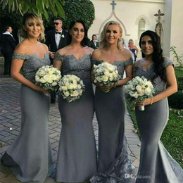 satin grey dress mermaid Promo Codes - 2019 Grey Long Bridesmaid Dresses With Lace Off Shoulder Cap Sleeves Mermaid Wedding Party Dress Maid of Honor Gowns Custom Made