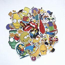 Nevera de vinilo online-50 Unids / lote Vinyl The Simpsons Stickers Divertido Anime Cartoon Sticker Para Skateboard Equipaje Portátil Guitarra Nevera Bicicleta ventana calcomanía
