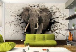 Murais de elefantes on-line-Papel de parede 3d elefante Mural TV parede de fundo sala de estar quarto TV fundo mural de papel de parede para paredes 3 d