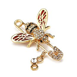 Cute Honeybee Donne Spille Forme animali Crystal Bee Spilla Pins Distintivi per vestiti Spille femminili da