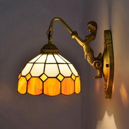 Lampe murale vitrail en Ligne-Style européen Retro Tiffany Stained Glass Wall Light Salle à manger Chambre Bar Club Couloir Jaune Méditerranéen Applique Murale