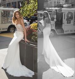 Abra para trás vê através do vestido de casamento on-line-2019 Sexy Lace Appliqued Spaghetti Boho Sereia Vestido De Noiva Elegante Aberto Para Trás Ver Através Da Praia Bohemian Bridl Vestido