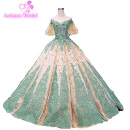 2019 novo longo vestido de noite off ombro ouro glitter (queda para baixo) esmeralda verde lace appliqued vestido de baile vestidos de baile vestidos formais de