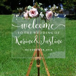 Зеркальные имена онлайн-Wedding Welcome Decal Personalized Couples Names and Dates  Mirror Board Wall Sticker Removable Simple Wedding Decor G209