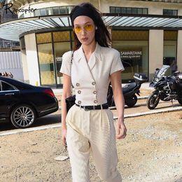 2019 damen jacke koreanischen stil Rapcopter Frauen beiläufige weiße feste Jacken Kurzarm koreanischen Stil gekerbten Hals Damen kurze Ernte Anzug Mode Streetwear 2019 rabatt damen jacke koreanischen stil