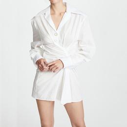 f90c0864892 lange weiße hemden kleid frau Rabatt Unregelmäßige weißes hemd dress für  frauen langarm hohe taille minikleider