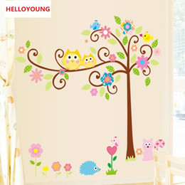 fondo de pantalla de los niños del búho Rebajas DIY Wall Sticker Owl Scroll Tree Wallpapers Art Mural Impermeable Niños Nursery Wall Stickers Decoración para el hogar extraíble