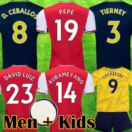 Camisetas de futebol amarelo on-line-Arsenal camisa de futebol PEPE D CEBALLOS soccer jersey football shirt 19 20 AUBAMEYANG LACAZETTE 2019 2020 Camiseta Xhaka Özil kit de futebol camisa uniformes maillot de terceira