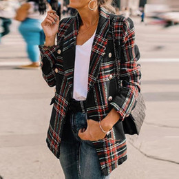 giacca da lavoro coreano Sconti Le donne Vintage Plaid Jacket Office Work casual Plus Size cappotto della molla 2020 coreani Giacche Cappotti Chic Nero Retro Red cappotto 2XL