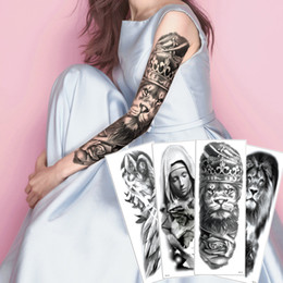 Krone engel online-Big Large Voll Arm-Fälschung Schwarz Temporary Body Art Tattoo-Aufkleber Löwe-Krieger Crown Nun Pigeon Sexy Angel Aufkleber wasserdichte Tattoo Design 2020