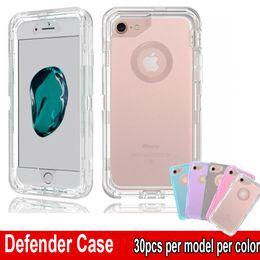 Housses iphone robustes en Ligne-Cas clair de Defender Case antichoc Heavy Duty Transparent Protector Armor Cover pour iPhone XR XS Max 6 7 8 Plus, Pas de Clip Ceinture