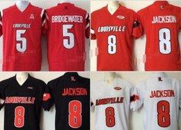 jersey patriota negro Rebajas Barato para hombre de la universidad Louisville Cardinals cosido 8 Lamar Jackson 5 Bridgewater Rojo Negro jerseys blancos del balompié