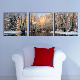 Dipinti di decorazione dell'hotel online-3 pezzi Winter Tree Prints Artwork Picture Dipinti su tela Wall Art for Hotel Living Room Decorazioni senza cornice