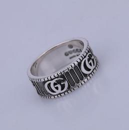 Plata de ley antigua online-Diseñador europeo de moda 925 anillos de talla de plata esterlina joyería de plata antigua hecha a mano hecha a mano hip hop hombres y mujer anillo gg
