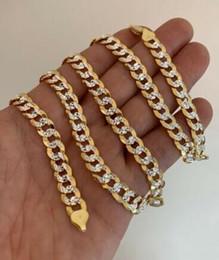 Diamantschliff 8mm kubanische Kette aus 14k Gold mit 925 Silber mit zwei Tönen ITALIEN von Fabrikanten