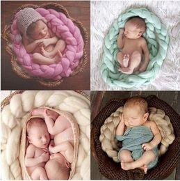mesi di bambino accessori per bambini Sconti Baby Knitting Wool Solid Coperte Coperte per bambini tessute a mano Twist Tweezer Photography Puntelli Filler