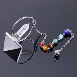 dowsing pêndulos Desconto Pêndulo de Pedra Natural para a Radiestesia Prisma Hexagonal Pirâmide Pingentes de Cristal Obsidiana