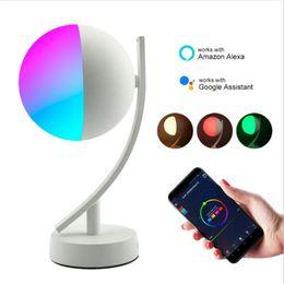 Tavoli wifi online-Lampade da scrivania a LED RGB 7W Smart Voice LED Control WiFi App Remote Dimmerabile Camera da letto Luci notturne da tavolo Funziona con Alexa Google Home