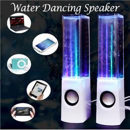 Fontes led dançando on-line-Alto-falantes coloridos LED dança água fonte luz show som laptops presentes