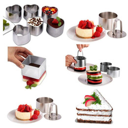cake layer cutter Promo Codes - Heart Stainless Steel Mousse Cake Ring Mold Layer Slicer Baking Bread Cutter