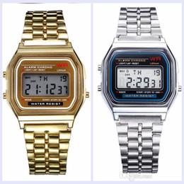Relojes baratos online-Venta caliente F-91W moda reloj electrónico Militar LED ultra delgado luz fría Reloj Unisex correa de acero Envío gratis