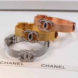 braceletes de pedra semi preciosa para mulheres Desconto aço inoxidável marca Broca integral cinta alfabeto, pulseira pulseira, clássico europeu e seda moda americana malha fivela da correia, de aço de titânio