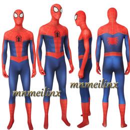 Costume classique spiderman en Ligne-Super-héros Spider-Man: Dans Le Spider-Verse Costume De Cosplay Sparkerman Spiderman Combat De Bataille Classique Combinaison Zentai Halloween