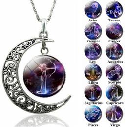 Зодиакальные чокеры онлайн-12 Зодиак кулон ожерелья полые Луна кабошоны стекло Лунный камень созвездие звездное небо Шарм колье для женщин s ювелирные изделия