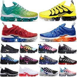 fishing shoes for men Promo Codes - Trainers Bumblebee Sunset Fades Green TN Plus Running Shoes For Men women GRAPE Bright Crimson Hyper Volt Wolf Grey Mens Trainers Sneaker