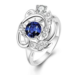 Deutschland Zirkon Ring für Frauen Mädchen Weihnachtsgeschenk CZ Ring Shiny Blue Farbe Blume Ringe supplier shiny blue flower girls Versorgung