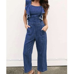 874982afc8ec Women Ladies Summer Fashion Casual Jumpsuits Ruffles Sleeve Blue Denim  Clubwear Backless Party Jumpsuit Romper Overall Trouser