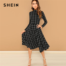 52ddfe9494 Shein Black Elegant Plaid Print High Neck Fit And Flare Long Sleeve High  Waist Dress 2018 Autumn Casual Women Long Dresses Q190402 fit flare knee  length ...
