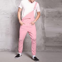 Mais tamanho malha de hip hop on-line-Mens Buraco Bolso Jeans Em Geral Slim Fit Macacão Estilo Coreano Streetwear Hip Hop Macacão Suspender Calças Rosa Plus Size