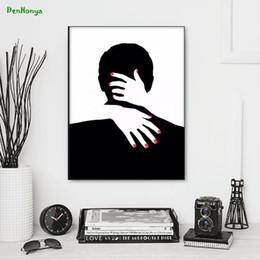 2020 cartaz abstrato preto branco Abstract abraço Casal Branco nórdicos e preto Pôsteres Canvas Pintura Poster da parede Home Decor Canvas Prints Imagem D109 cartaz abstrato preto branco barato